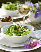 Asian pea, sugar snap and pea sprout salad