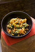 Chick-pea and cauliflower curry with basil