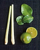 Lemon grass, kaffir lime leaves and halved lime