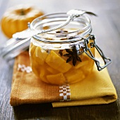 Pumpkin compote with star anise & cloves in preserving jar