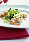 Frisee with green asparagus, prawns and raspberry dressing