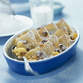Bread and butter pudding with raisins for breakfast