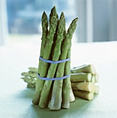 Two bundles of green asparagus