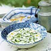 A plate of cucumber soup
