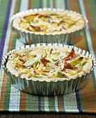 Two ham, cheese and onion quiches