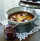 Chicken breasts with toasted cheese topping & cranberries
