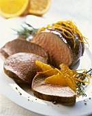 Roast venison with orange segments