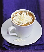 Coffee cream with white chocolate in a cup