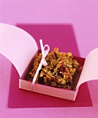 Fig flapjacks with redcurrant jelly in a box