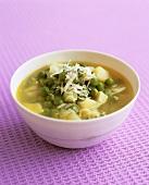 A bowl of pea and potato soup