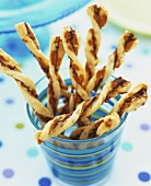 Cheese straws in a glass