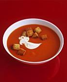 Tomato soup with crème fraîche and croutons