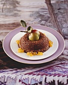 Chocolate pudding with apple compote