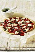 Strawberry pizza with mint pesto