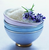 Lavender sugar in a small bowl