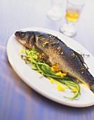 Sea bass on courgette spaghetti