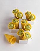 Avocado cream in wafer cones