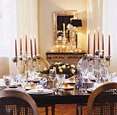 Festive table with bread rolls