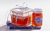 Fruit jelly in two different jars to give as gifts