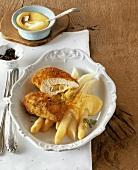 Lemon chicken Cordon Bleu with asparagus, hollandaise sauce