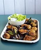 Chicken pieces with potatoes, lettuce & tarragon mayonnaise