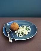 Deep-fried mackerel ball with fennel salad