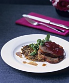 Leg of venison on turnip & tarragon rösti with redcurrant jelly