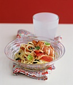 Linguine with vodka tomato sauce, lobster and capers