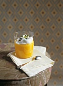 Peach puree with beaten egg white and pistachios