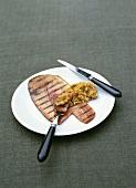 Grilled ham with onion chutney