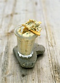 Mackerel and herb rillettes in jar with a cracker