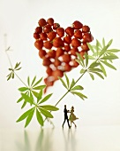 Couple dancing beneath a strawberry heart