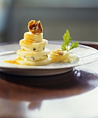 Parsnip and blue cheese tower with honey