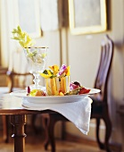 Celery salad and vegetable platter