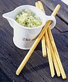 Avocado and blue cheese dip with grissini