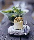 Baked goat's cheese with herb crust
