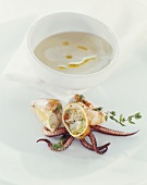 Stuffed squid, cream of fennel soup