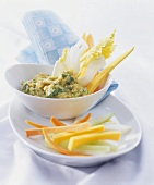 Vegetable sticks with avocado and chick-pea dip