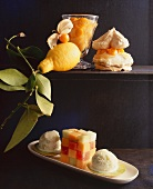 Various exotic fruit desserts