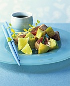 Seared tuna with cucumber, lime and soy sauce