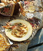 Grilled scampi with tarragon and garlic butter