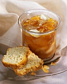 Apricot and lychee compote with almond cake