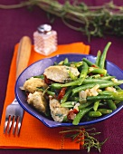 Green spelt dumplings with green beans