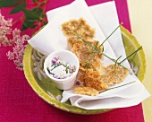 Ground-elder flower fritters with quark dip