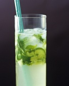 Cocktail made with ginger, mint and lime