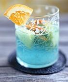 A glass of Blue Curaçao sangria