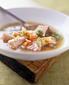 Miso soup with diced bacon and vegetables