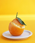 Orange sorbet in a hollowed-out orange