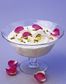 Rice dessert with Turkish Delight and rose petals