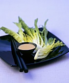 Romaine lettuce with sesame sauce